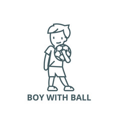 boy with ball line icon boy with ball vector image