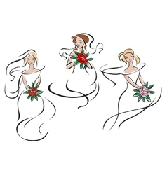 Brides or bridesmaids in classic wedding outfits vector image