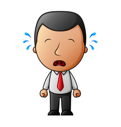 cartoon businessman crying sad with tears vector image