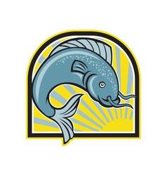 Catfish Jumping Sunburst Cartoon vector image