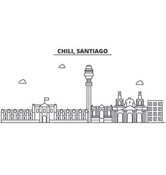 Chile santiago architecture line skyline vector