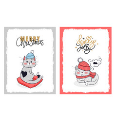 christmas cards with greeting from holly jolly cat vector image