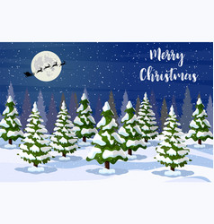 christmas landscape at night vector image