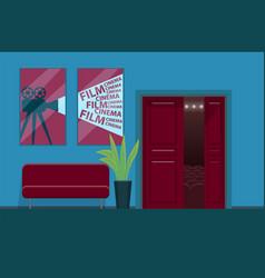 cinema movie theatre interior with sofa to wait vector image