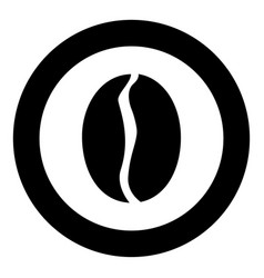 coffee bean icon black color in circle or round vector image