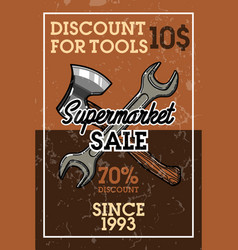 Color vintage supermarket sale banner vector