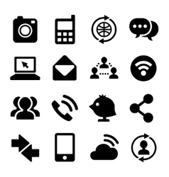 Communication and Internet Icons Set vector image