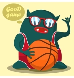 Cool basketball monster graphic vector