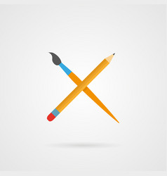 crossed pencil and paintbrush with shadow vector image