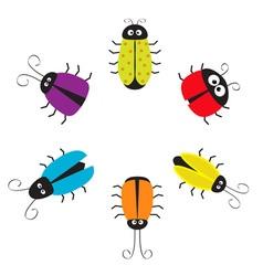 Cute bug circle round frame funny cartton vector