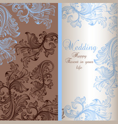 elegant wedding greeting card with swirls vector image