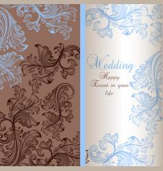 Elegant wedding greeting card with swirls vector