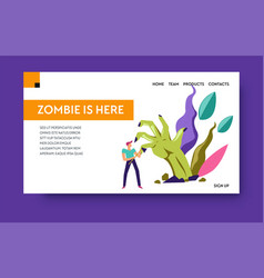 escape room or online zombie game landing web page vector image
