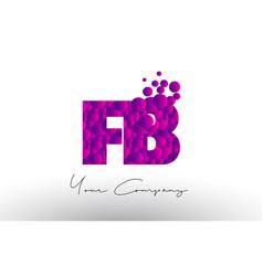 Fb f b dots letter logo with purple bubbles vector