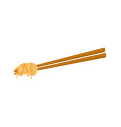 Flat asian noodle wok udon on sticks vector