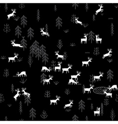 forest life deers seamless pattern black vector image