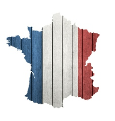 France Map With Wooden Flag vector