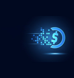 futuristic blue us dollar currency transformation vector image