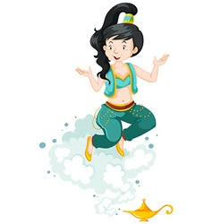 Genie in blue outfit and golden lamp vector