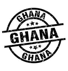Ghana black round grunge stamp vector