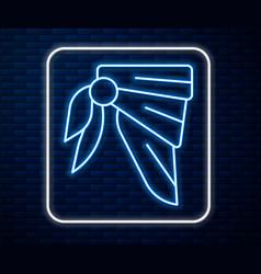 Glowing neon line bandana or biker scarf icon vector