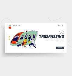 Graffiti painters waste van landing page template vector