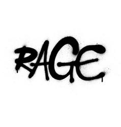 Graffiti rage word font sprayed in black over vector