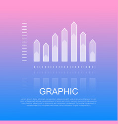 Graphic transparent column chart with sharp edges vector