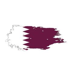 grunge brush stroke with qatar national flag vector image