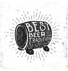 Hand drawn vintage label with beer barrel vector image