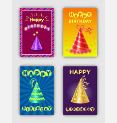 happy birthday collection of celebration cards vector image
