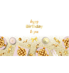 Happy birthday to you greeting web banner vector