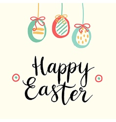 Happy easter cards with easter eggs and font vector