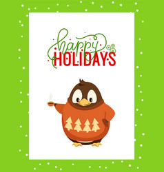 happy holidays greeting card in frame and penguin vector image