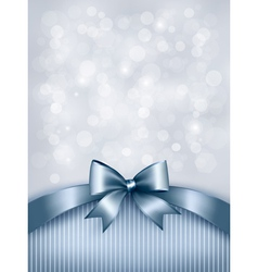 Holiday blue background with gift glossy bow and vector