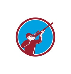 Hunter Shooting Up Rifle Circle Retro vector image