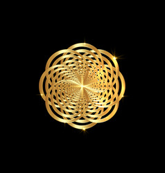 Intertwined gold mandala golden luxury flower vector