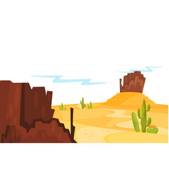 landscape of sandy desert with green cacti and vector image