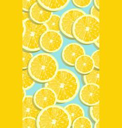 lemon fruits slice seamless pattern overlapping vector image