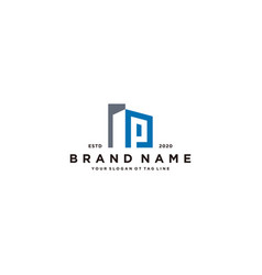 Letter p and building logo design vector