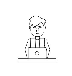 line profesional businessman with laptop and vector image