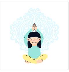Little girl doing yoga vector