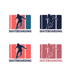 logo vintage retro simple skateboarding vector image