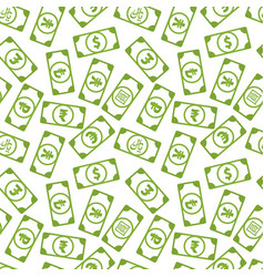 lot different bright green money banknotes with vector image