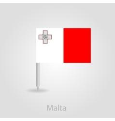 Malta flag pin map icon vector image