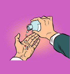 Man hand pours out pills vector