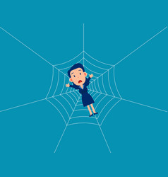Man trap spider web business fall into a trap vector