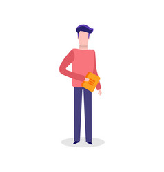Man walking with book publication printed material vector
