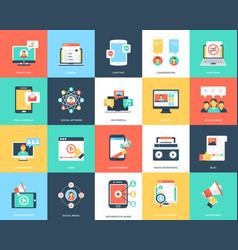 Media flat icons set vector