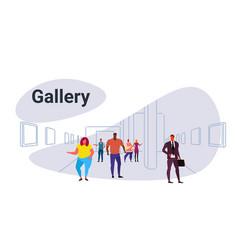 Mix race people looking modern art gallery vector